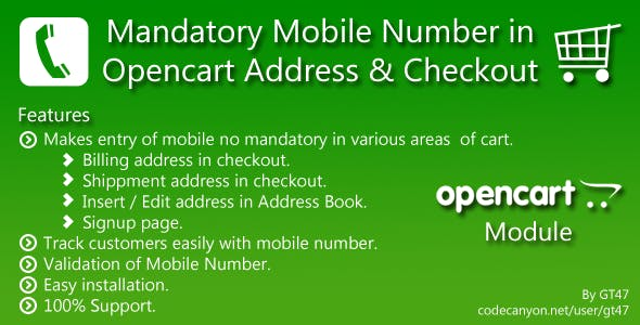 Mandatory Mobile no in Opencart Address & Checkout