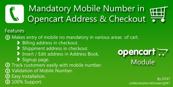 Mandatory Mobile no in Opencart Address & Checkout - CodeCanyon Item for Sale