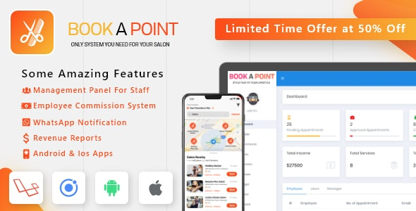 Salon & Spa Appointment Booking Android - iOS App with admin panel - Book A Point - CodeCanyon Item for Sale