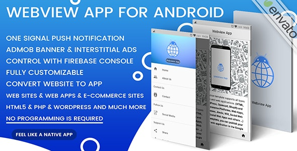 Webview App For Android - One Signal + Admob | Convert Website To App - CodeCanyon Item for Sale