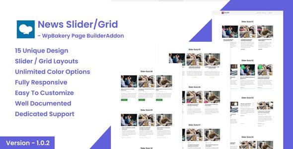 News Post Sliders News Post Grid Builder Addon - WpBakery Page Builder(Visual Composer) Wordpress