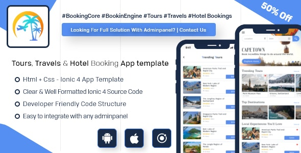 Tours, Travels & Hotel Booking android app + ios app templete - Trip Coach ( HTML + CSS Files Ionic - CodeCanyon Item for Sale