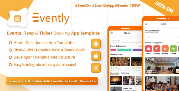 Evently - Event Calender Mobile App Template for EventOn ( HTML - CSS - Android - IOS - IONIC 4) - CodeCanyon Item for Sale