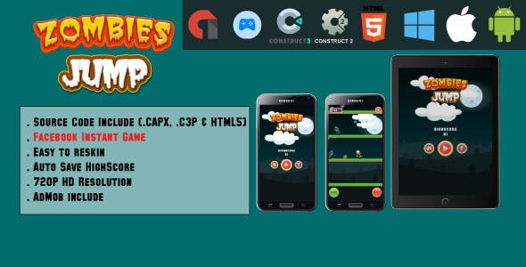 Jumping Monsters - HTML5 Game - Mobile, Facebook Instant Games & Web (HTML5 & C2,C3)