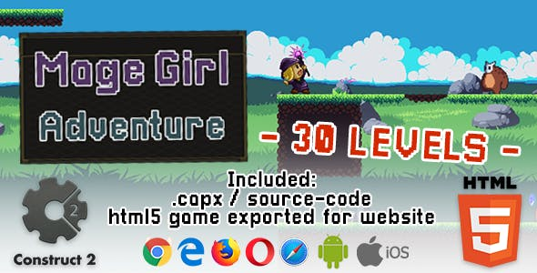 Mage Girl Adventure - HTML5 Construct 2 Game (.capx)