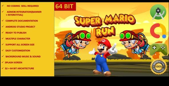 Mario Runner Full adventure complete android studio game with admob