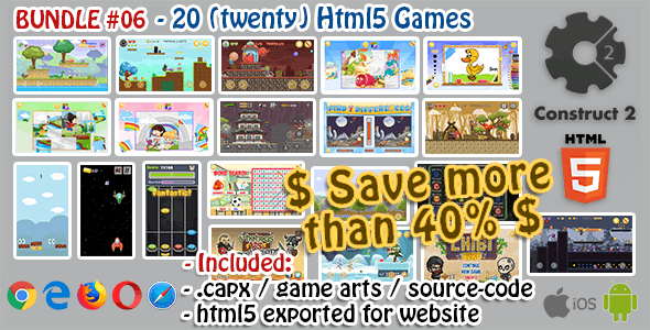 Game Bundle #06 – 20 (Twenty) HTML5 Games (Construct 2 .capx and Source-Code) - CodeCanyon Item for Sale