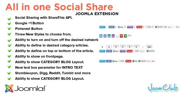 All in One Social Share Joomla Plugin - CodeCanyon Item for Sale