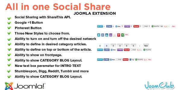 All in One Social Share Joomla Plugin