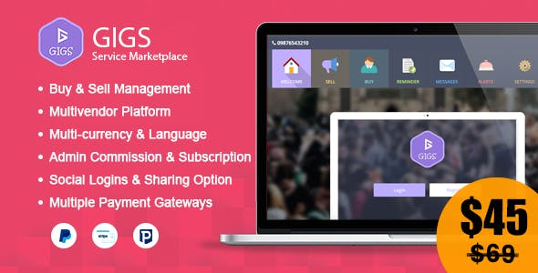 Gigs - Marketplace Services & Freelancer Marketplace Script (Fiverr Clone - Multi Vendor)
