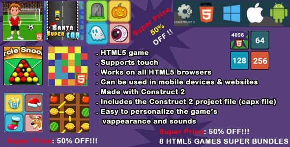 8 HTML5 GAMES SUPER BUNDLES (CAPX), a suite of 8 beautiful games, with excellent graphics and great - CodeCanyon Item for Sale