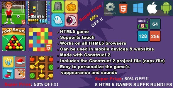 8 HTML5 GAMES SUPER BUNDLES (CAPX), a suite of 8 beautiful games, with excellent graphics and great