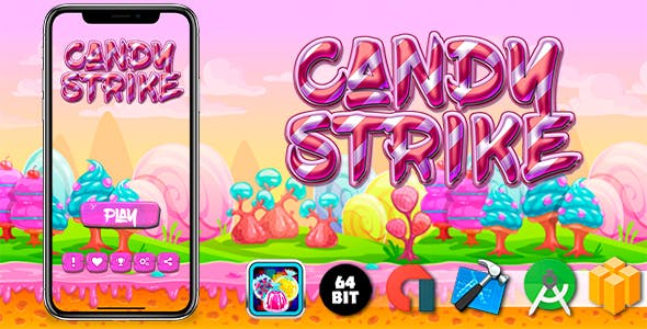 Candy Strike Android iOS Buildbox Game Template with AdMob Interstitial Ads