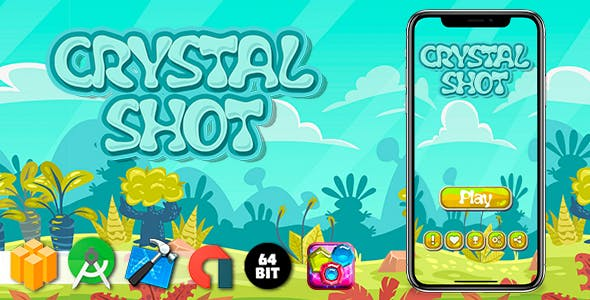 Crystal Shot Android iOS Buildbox Game Template with AdMob Interstitial Ads