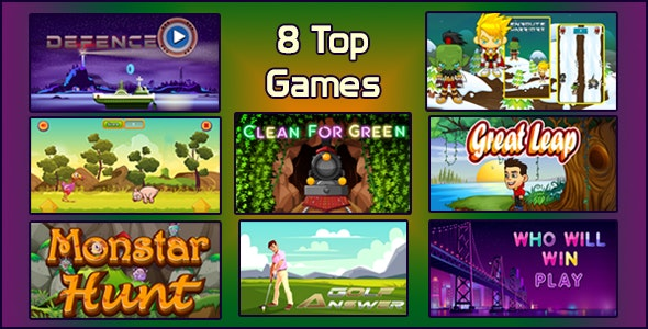 Top 8 HTML5 Games Bundle 01 Capx - CodeCanyon Item for Sale