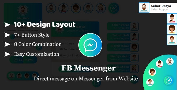 FB Messenger - Direct Message on Facebook Messenger From website HTML Plugin - CodeCanyon Item for Sale