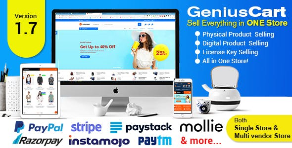 GeniusCart - Single or Multivendor Ecommerce System with Physical and Digital Product Marketplace