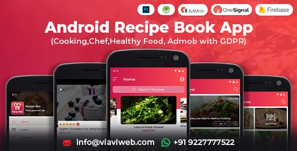 Android Recipe Book App (Cooking,Chef,Healthy Food, Admob with GDPR) - CodeCanyon Item for Sale