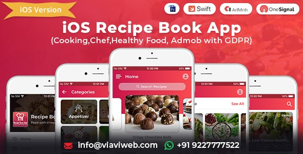 iOS Recipe Book App (Cooking,Chef,Healthy Food, Admob with GDPR) - CodeCanyon Item for Sale