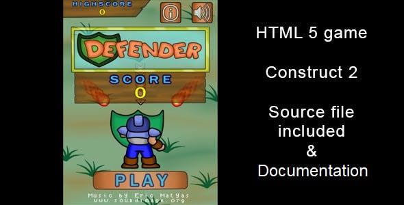 Defender - HTML5 Game (Construct2)
