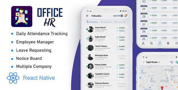 Office HR - Attendance, Employee Tracking , Leaves & Notice  Board: React Native Mobile App - CodeCanyon Item for Sale