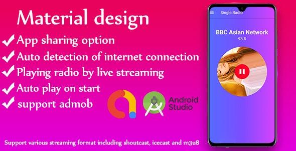 Single Radio android Radio app + admob - CodeCanyon Item for Sale