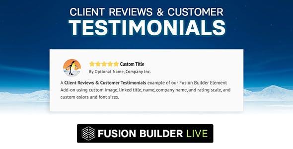 Fusion Builder Live Client Reviews & Customer Testimonials for Avada Live (v6+)