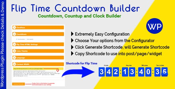 Flip Time Countdown Builder - Responsive Countdown Countup and Clock Builder for WordPress