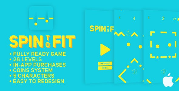 Spin To Fit - IOS - Fun Arcade Game Template + easy to reskine + AdMob