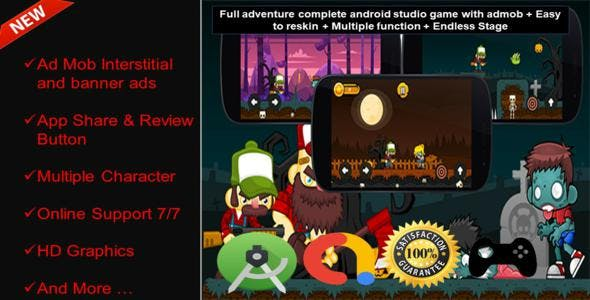 Zombies Full Adventure Android Studio Project +Enabled  Admob + Easy To Reskin + Ready To Publish