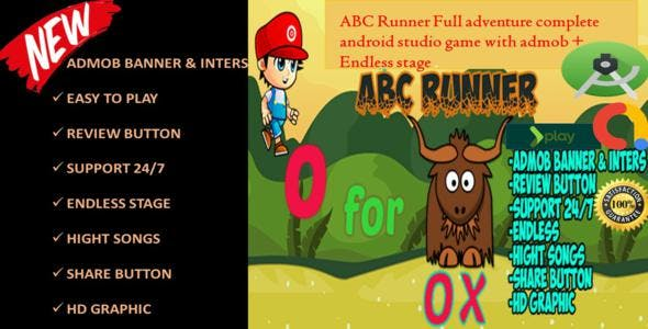 ABC RUNNER BOY  FULL ADVENTURE ANDROID STUDIO PROJECTS + EASY TO RESKIN + READY TO PUBLISH