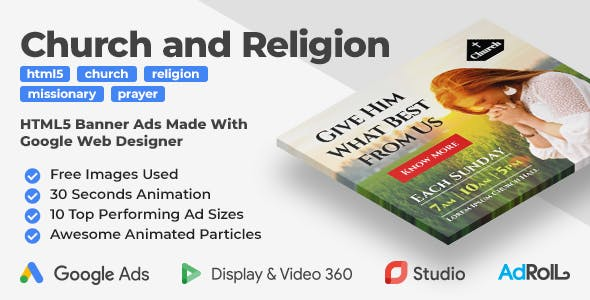 Church and Religion Animated HTML5 Banner Ad Templates (GWD)