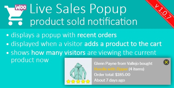 Live Sales Popup: product sold notification - Boost Your Sales - Recent Sales Popup - CodeCanyon Item for Sale