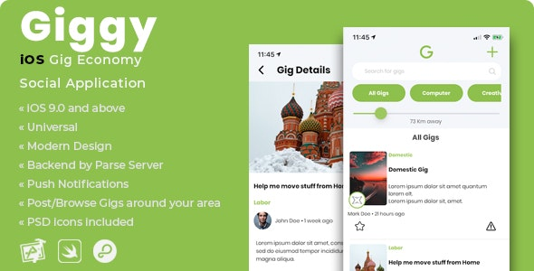 Giggy | iOS Gig Economy Social Application - CodeCanyon Item for Sale