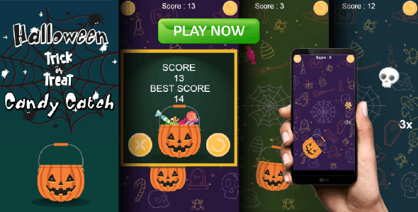 Candy Catch - Halloween Trick or Treat - HTML5 Game + Mobile Version - CodeCanyon Item for Sale
