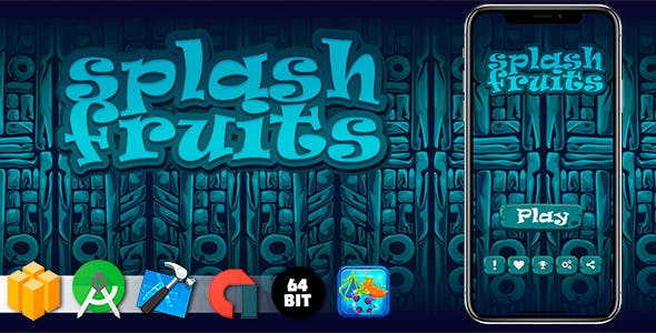 Splash Fruits Android iOS Buildbox Game Template with AdMob Interstitial Ads