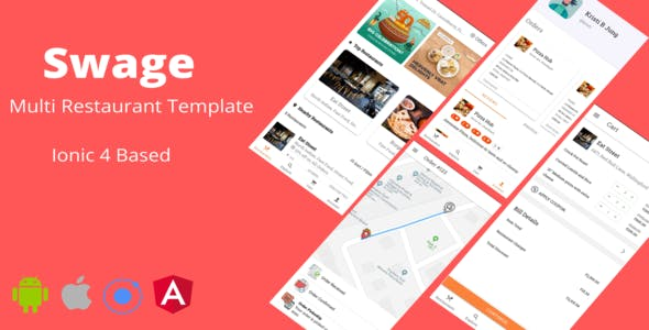 Swage - Food Ordering Restaurant Android + iOS App Template Ionic 4 HTML CSS Files