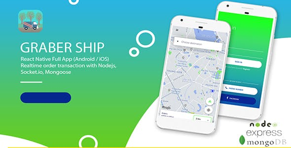 Graber Ship - React Native Realtime Shiping Full App with Nodejs, Mongo, SocketIO
