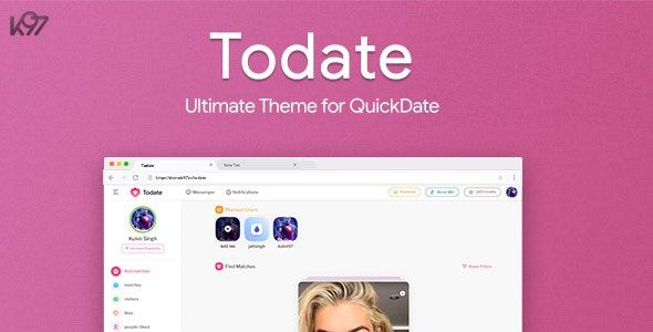 Todate - The Ultimate QuickDate Theme - CodeCanyon Item for Sale
