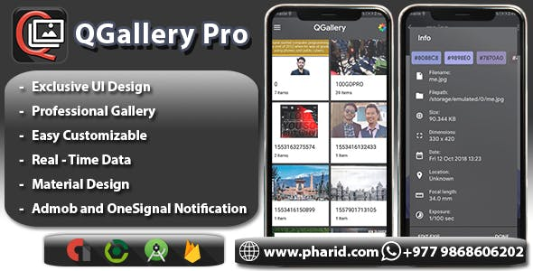 QGallery Pro - Modern Gallery App | Material Design, ONESIGNAl and Admob Ads