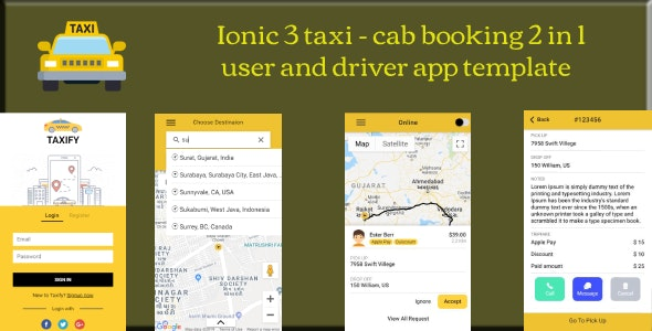 ionic 3 2 in 1 taxi cab booking user and driver app template - CodeCanyon Item for Sale