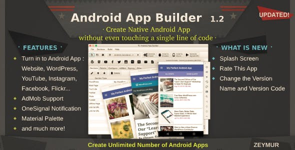 Android App Builder - Wordpress, WebView, YouTube & much more