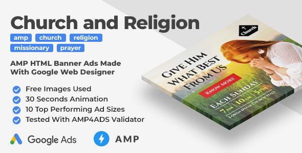 Church and Religion Animated AMP HTML Banner Ad Templates (GWD) - CodeCanyon Item for Sale