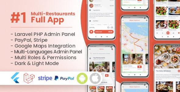 Food Delivery Flutter + PHP Laravel Admin Panel - CodeCanyon Item for Sale