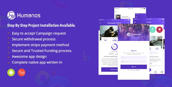 Humanos - Complete (web+Android app) crowdfunding Solutions