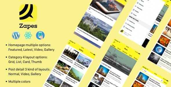 Zapes - React Native mobile application for Wordpress