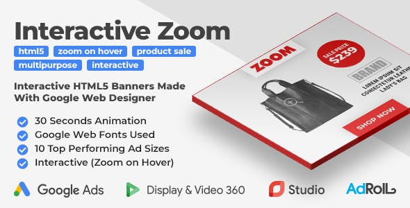 Zoom - Interactive Product Sale HTML5 Banner Ad Templates (GWD)