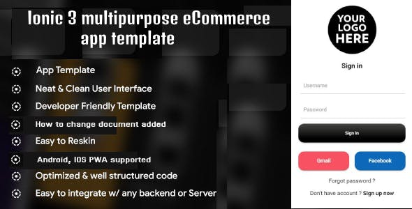 Ionic 3 multipurpose eCommerce app templates (Android - IOS)