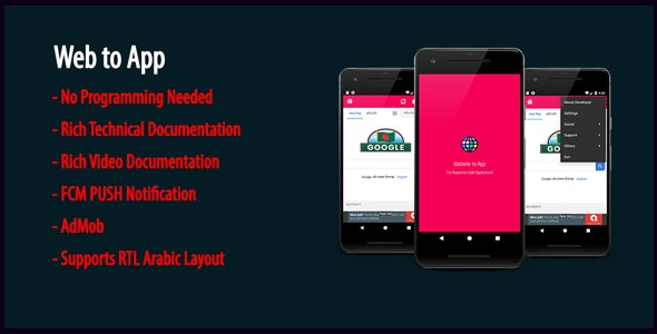 Web to App   Native Universal Android WebView App with AdMob & Firebase PUSH Notification - CodeCanyon Item for Sale