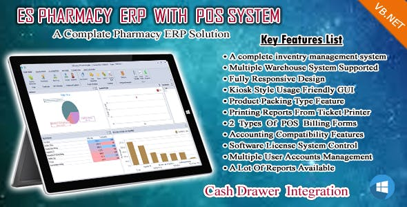 ES Pharmacy ERP ,POS , Accounts , Inventory and Warehouse Management